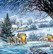 Xmas Digital Art Metal Prints - Winter Coaches Metal Print by Steve Crisp