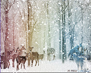 Snow Scene Mixed Media Prints - Winter Confrontation Print by Michael Pittas