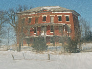 Rural Snow Scenes Mixed Media Prints - Winter Courthouse Print by Dennis Buckman