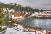 New England Snow Scene Framed Prints - Winter Cove Framed Print by Robert Saccomanno