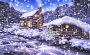 Snowy Night Art - Winter Creek by Mo T