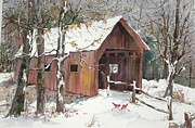 New England Snow Scene Painting Framed Prints - Winter Crossing Framed Print by Sherri Crabtree