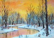 Serenity Scenes Landscapes Paintings - Winter  Dawn  by Shasta Eone