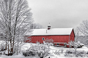 Red Barn. New England Digital Art Prints - Winter Day Print by Bill  Wakeley