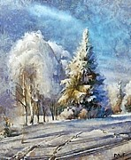 Rural Snow Scenes Mixed Media Prints - Winter day Print by Dragica  Micki Fortuna