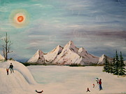 Family Love Paintings - Winter day by Kelci Pauk