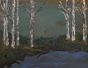 Textured Paintings - Winter Day on Water by Karen Butscha