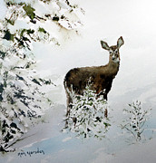 Northwoods Posters - Winter Deer Poster by Ken Marsden