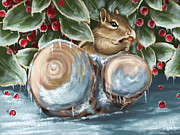 Squirrel Digital Art Metal Prints - Winter dinner Metal Print by Veronica Minozzi