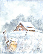 Snow Scene Drawings - Winter Down On The Farm by Carol Wisniewski