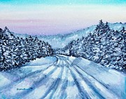 Snowscape Painting Posters - Winter Drive Poster by Shana Rowe
