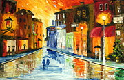 Rainy Street Painting Originals - Winter evening by Mariana Stauffer