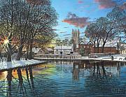 Realist Paintings - Winter Evening Tickhill Yorkshire by Richard Harpum