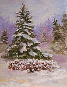 Snowscape Paintings - Winter Evergreens by Alicia Drakiotes