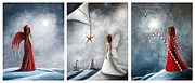 Snowy Night Painting Metal Prints - Winter Fairies by Shawna Erback Metal Print by Shawna Erback
