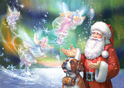 Santa Claus Posters - Winter Fairies Poster by Zorina Baldescu