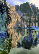 Yosemite Falls Metal Prints - Winter Falls Metal Print by Bill Gallagher