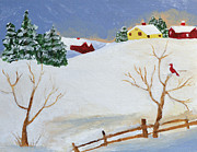 Folk Painting Framed Prints - Winter Farm Framed Print by Bryan Penzer