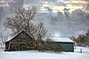 Leaden Sky Prints - Winter Farm II Print by Steve Harrington