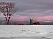 Red Barn. New England Digital Art Prints - Winter Farm in Vermont Print by Jane Ogilvie