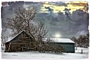 Shed Digital Art Metal Prints - Winter Farm polaroid transfer  Metal Print by Steve Harrington