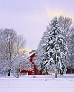 Red Barn In Winter Photos - Winter Farm Scene by Timothy Flanigan