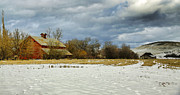 Old Mills Photo Prints - Winter Farm Print by Steve McKinzie