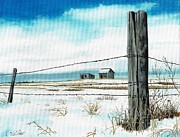Stalls Paintings - Winter Fence Line on Prairie by David Wolfer