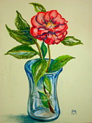Vase Pastels Prints - Winter Flower Print by Pete Maier