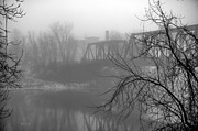 Trees And Bridge Prints - Winter Fog Print by Bob Orsillo
