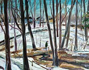 Cross-country Skiing Paintings - Winter Footbridge by Scott Nelson