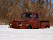 Classic Ford Posters - Winter Ford Truck 3 Poster by Thomas Young