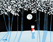 Snowy Night Paintings - Winter Forest by Todd Young