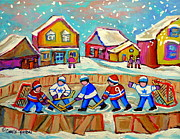 Hockey Rinks Paintings - Winter Fun At Hockey Rink Magical Montreal Memories Rink Hockey Our National Pastime Falling Snow   by Carole Spandau