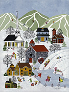 Skiing Art Print Framed Prints - Winter Fun Framed Print by Medana Gabbard