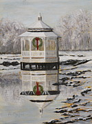 Gazebo Greeting Card Framed Prints - Winter Gazebo Framed Print by Alan Mager