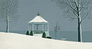 Artist Michael Swanson Prints - Winter Gazebo Print by Michael Swanson