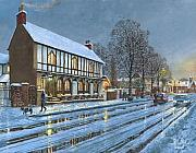 Realist Paintings - Winter Glow Parish Room Tickhill Yorkshire by Richard Harpum