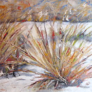 Timi Johnson Prints - Winter Grass Print by Timi Johnson