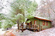 River Cabin Prints - Winter Green Print by Debra and Dave Vanderlaan