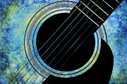 Sound Digital Art - Winter Guitar by Andee Photography
