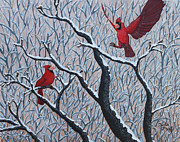 Cardinals In Snow Prints - Winter Haven Print by Phyllis Wolf