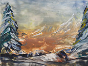 Beeswax Paintings - Winter hike by Ana Lusi