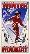 Skiing Poster Prints - Winter Holiday Print by Garth Glazier