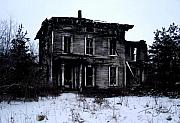 """haunted House"" Metal Prints - Winter Home Metal Print by Tom Straub"