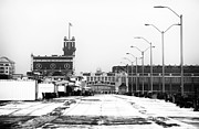 Winter Travel Framed Prints - Winter in Asbury bw Framed Print by John Rizzuto