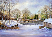 Water Color Mixed Media Posters - Winter In Ashford Poster by Andrew Read