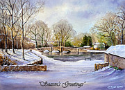 Christmas Card Mixed Media Metal Prints - winter in ashford Derbyshire Metal Print by Andrew Read
