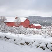 Red Barn. New England Prints - Winter in Connecticut square Print by Bill  Wakeley