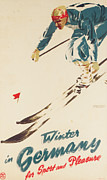 Ski Drawings Prints - Winter in Germany Print by H Plessen